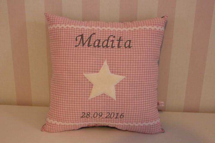 kissen rosa mit stern namen geburtsdatum personalisiert. Black Bedroom Furniture Sets. Home Design Ideas